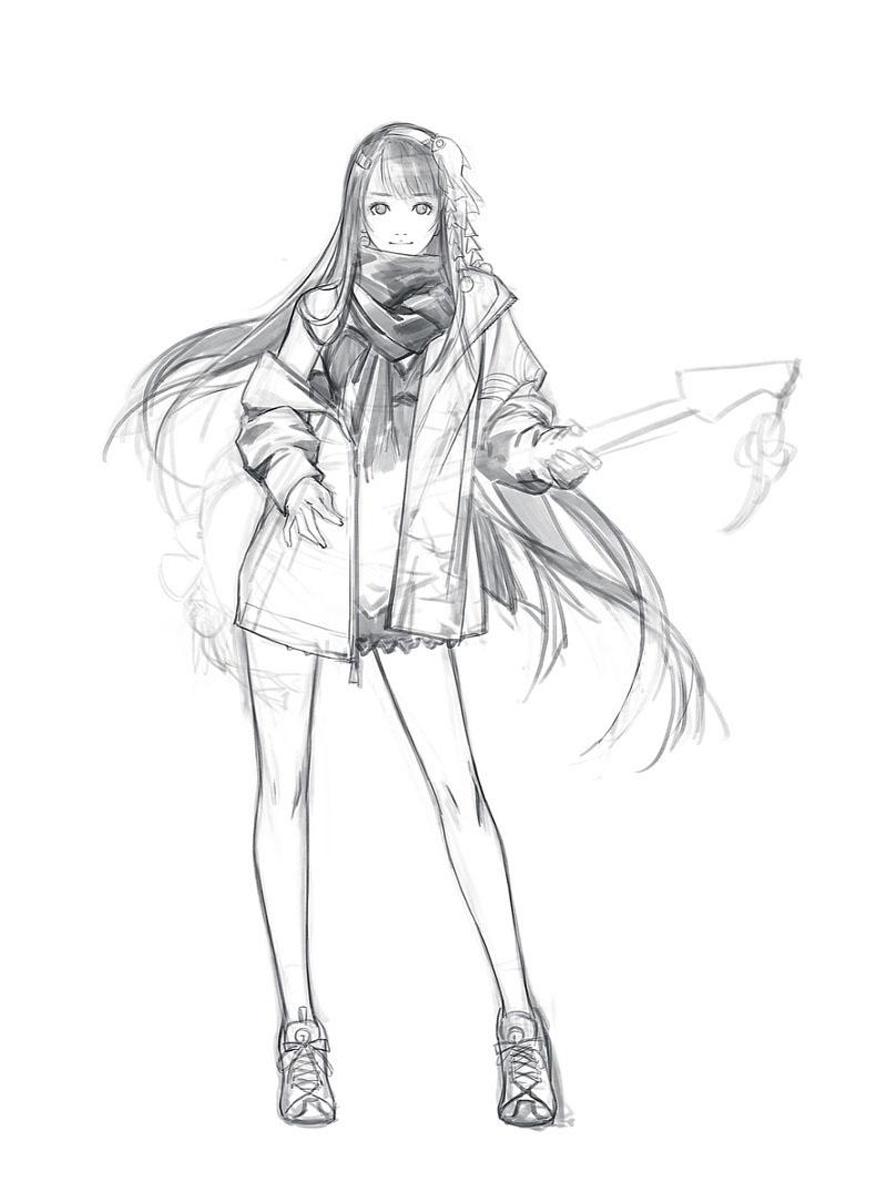 蕾丝服装人物手绘图